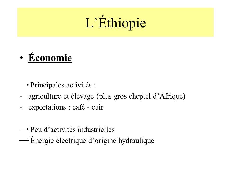 L'Éthiopie Économie Principales activités :