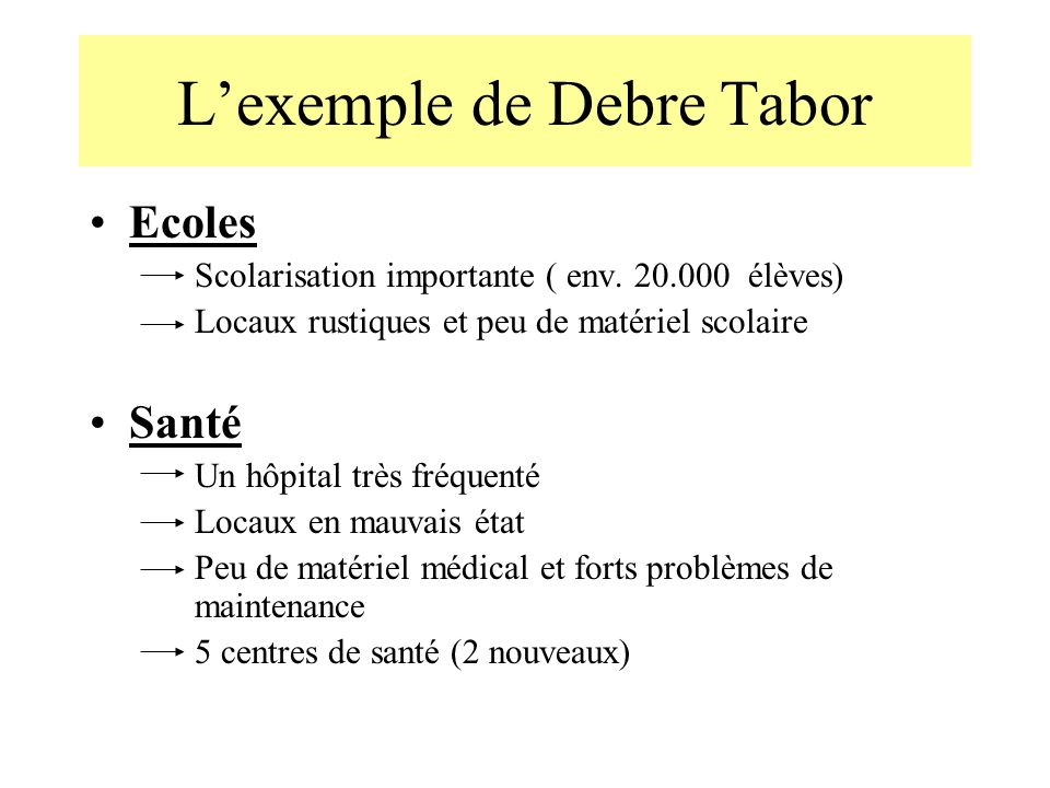 L'exemple de Debre Tabor