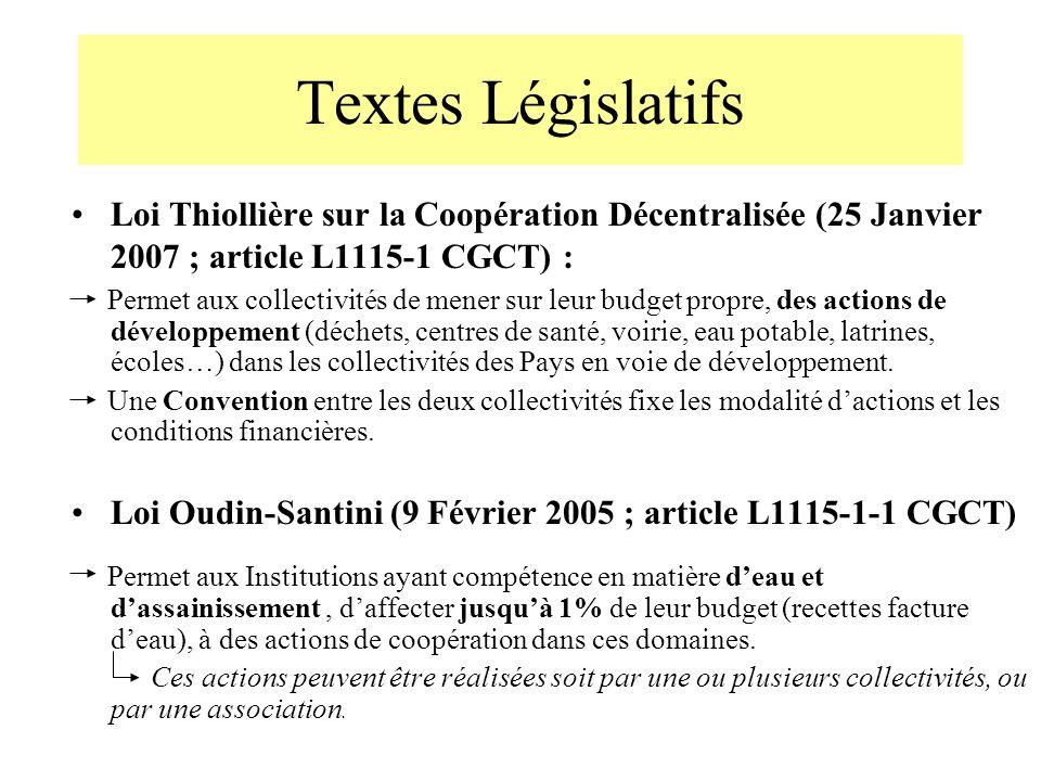 Textes Législatifs Loi Thiollière sur la Coopération Décentralisée (25 Janvier 2007 ; article L1115-1 CGCT) :