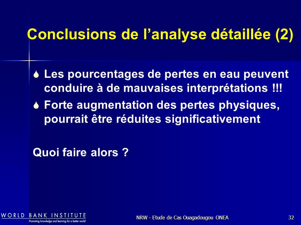Conclusions de l'analyse détaillée (2)