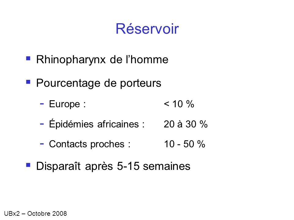 Réservoir Rhinopharynx de l'homme Pourcentage de porteurs