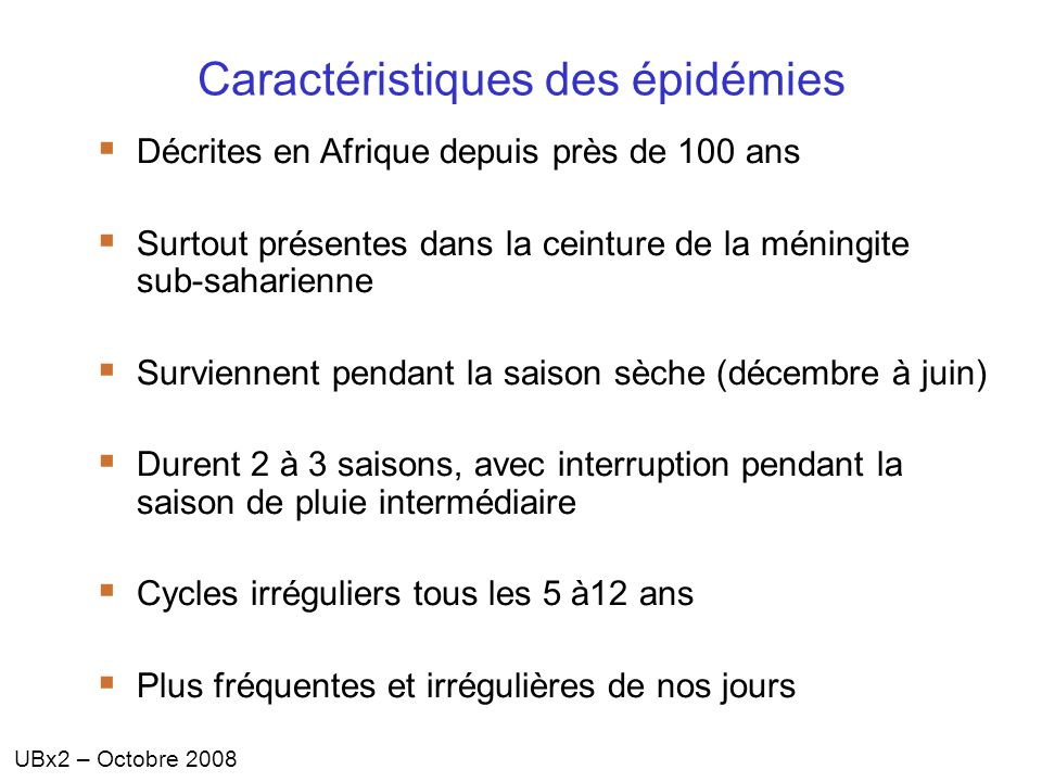 Caractéristiques des épidémies