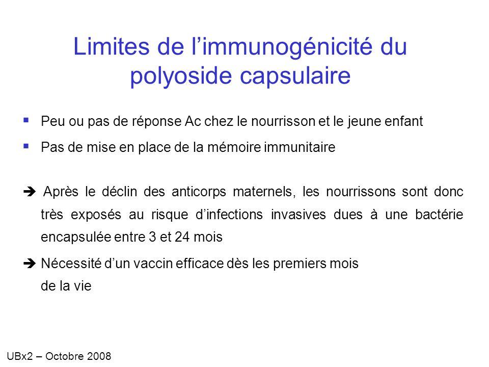 Limites de l'immunogénicité du polyoside capsulaire