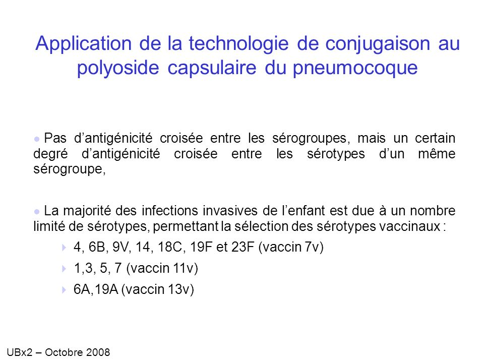 Application de la technologie de conjugaison au polyoside capsulaire du pneumocoque