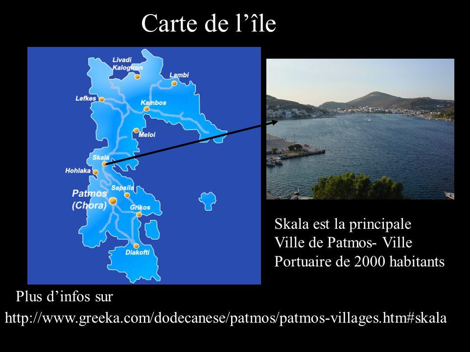 Carte de l'île Skala est la principale Ville de Patmos- Ville