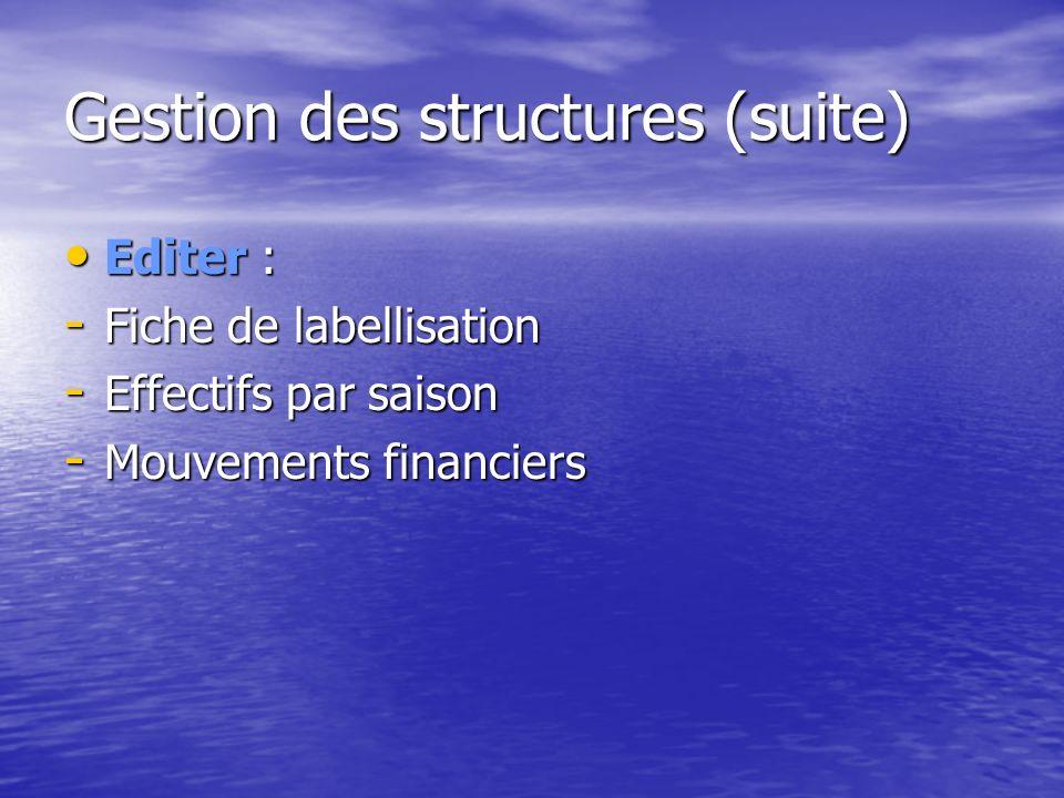 Gestion des structures (suite)