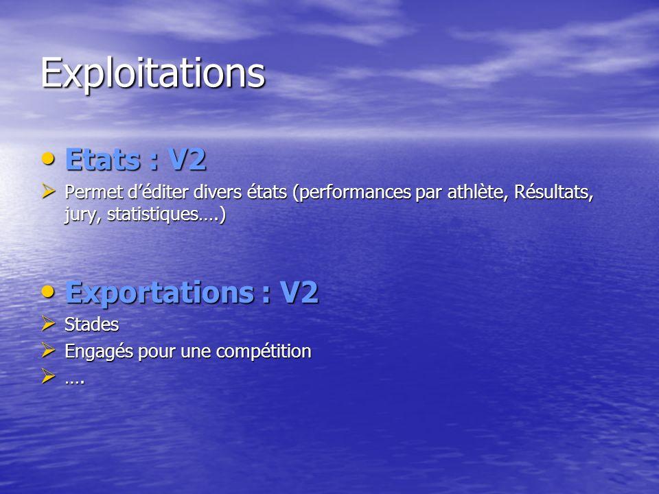 Exploitations Etats : V2 Exportations : V2