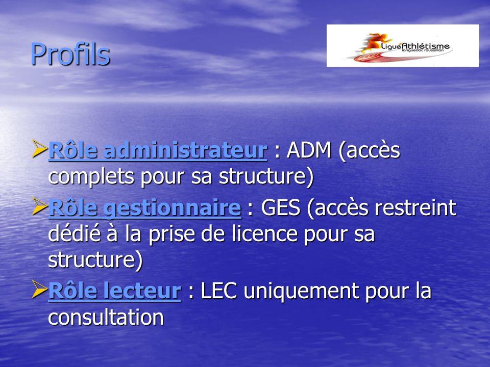 Profils Rôle administrateur : ADM (accès complets pour sa structure)