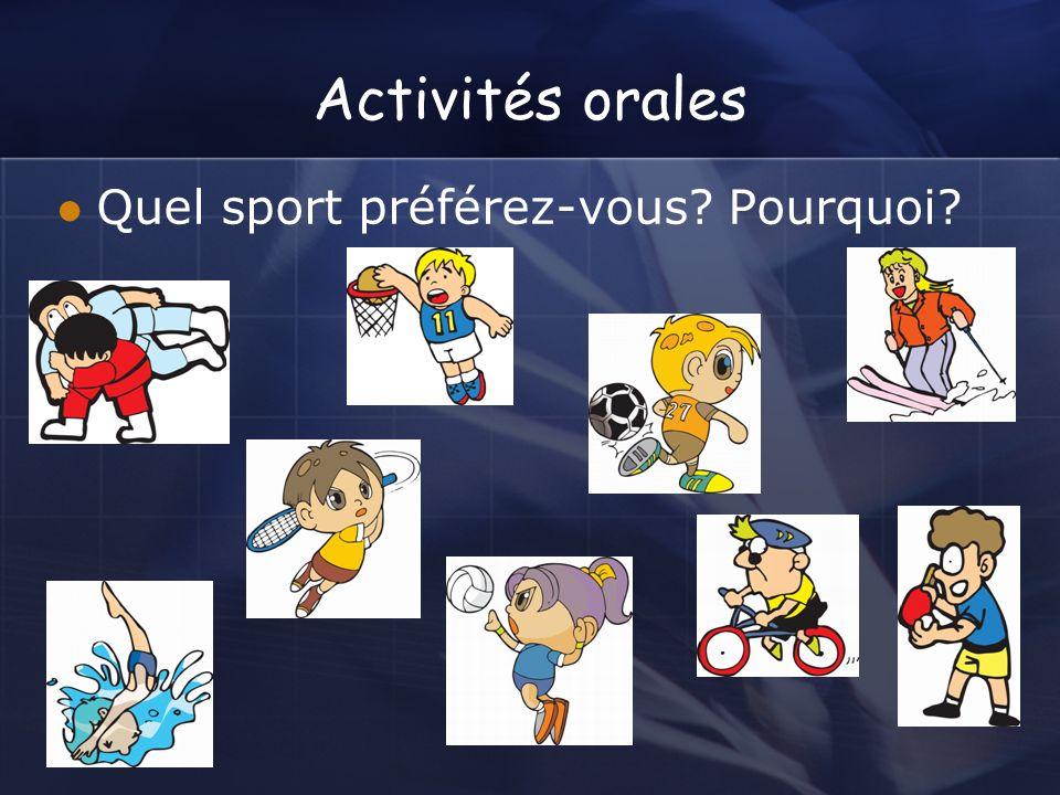 Activités orales Quel sport préférez-vous Pourquoi