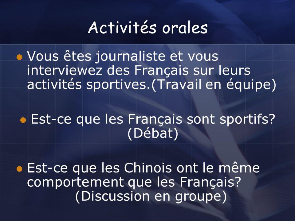 Est-ce que les Français sont sportifs (Débat)