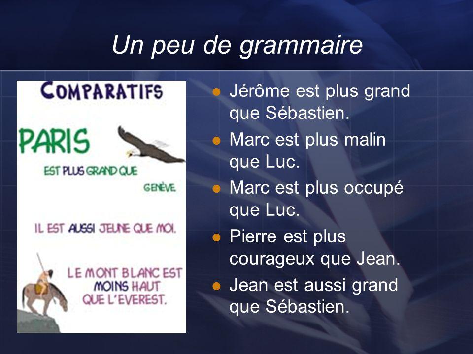 Un peu de grammaire Jérôme est plus grand que Sébastien.