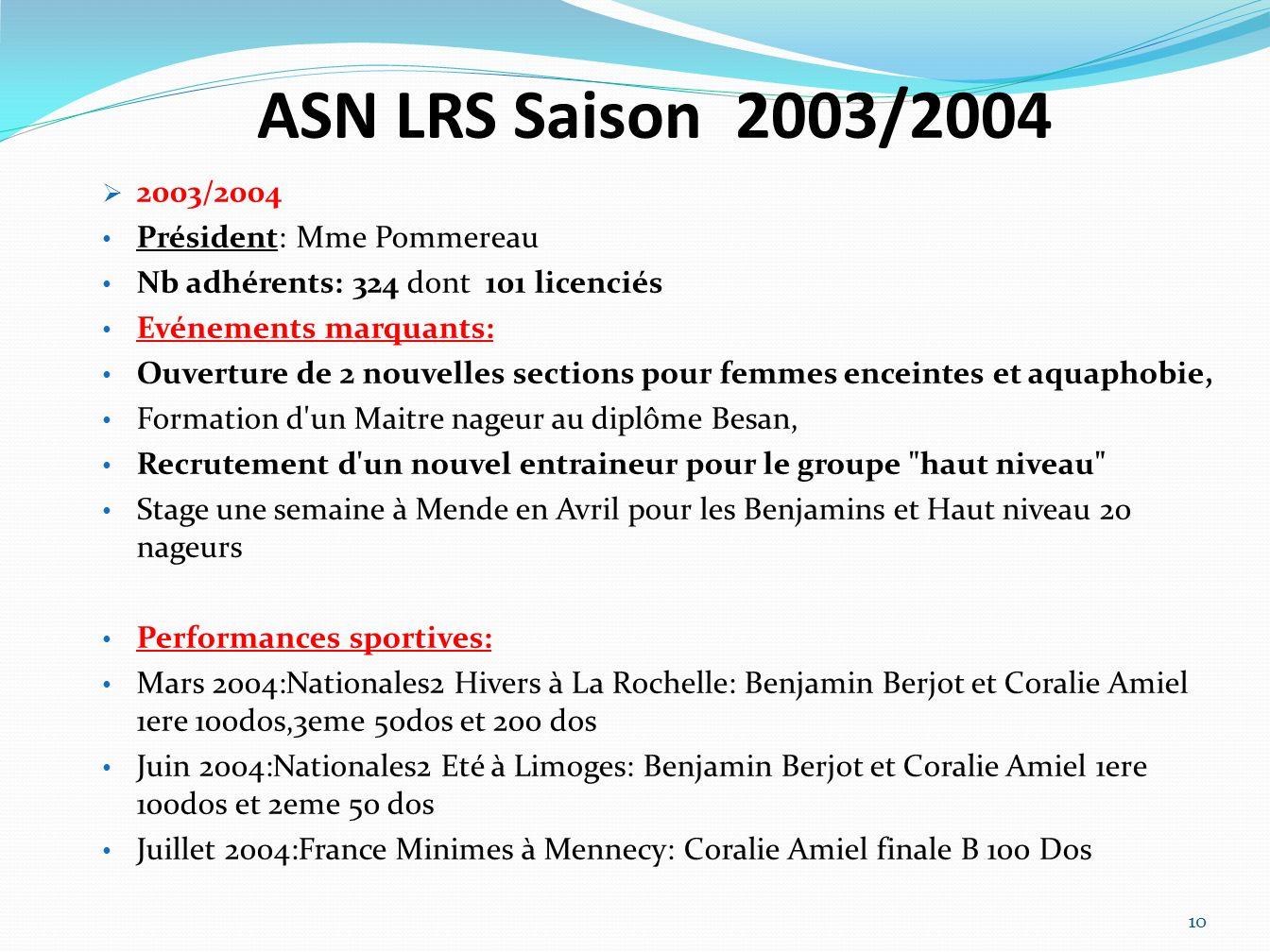 ASN LRS Saison 2003/2004 2003/2004 Président: Mme Pommereau