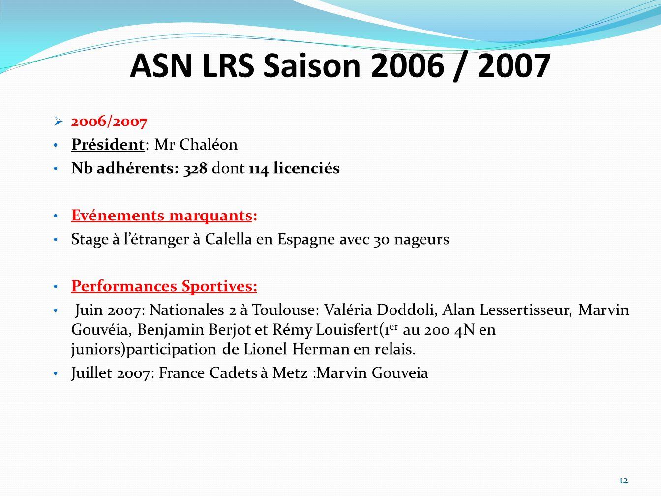 ASN LRS Saison 2006 / 2007 2006/2007 Président: Mr Chaléon