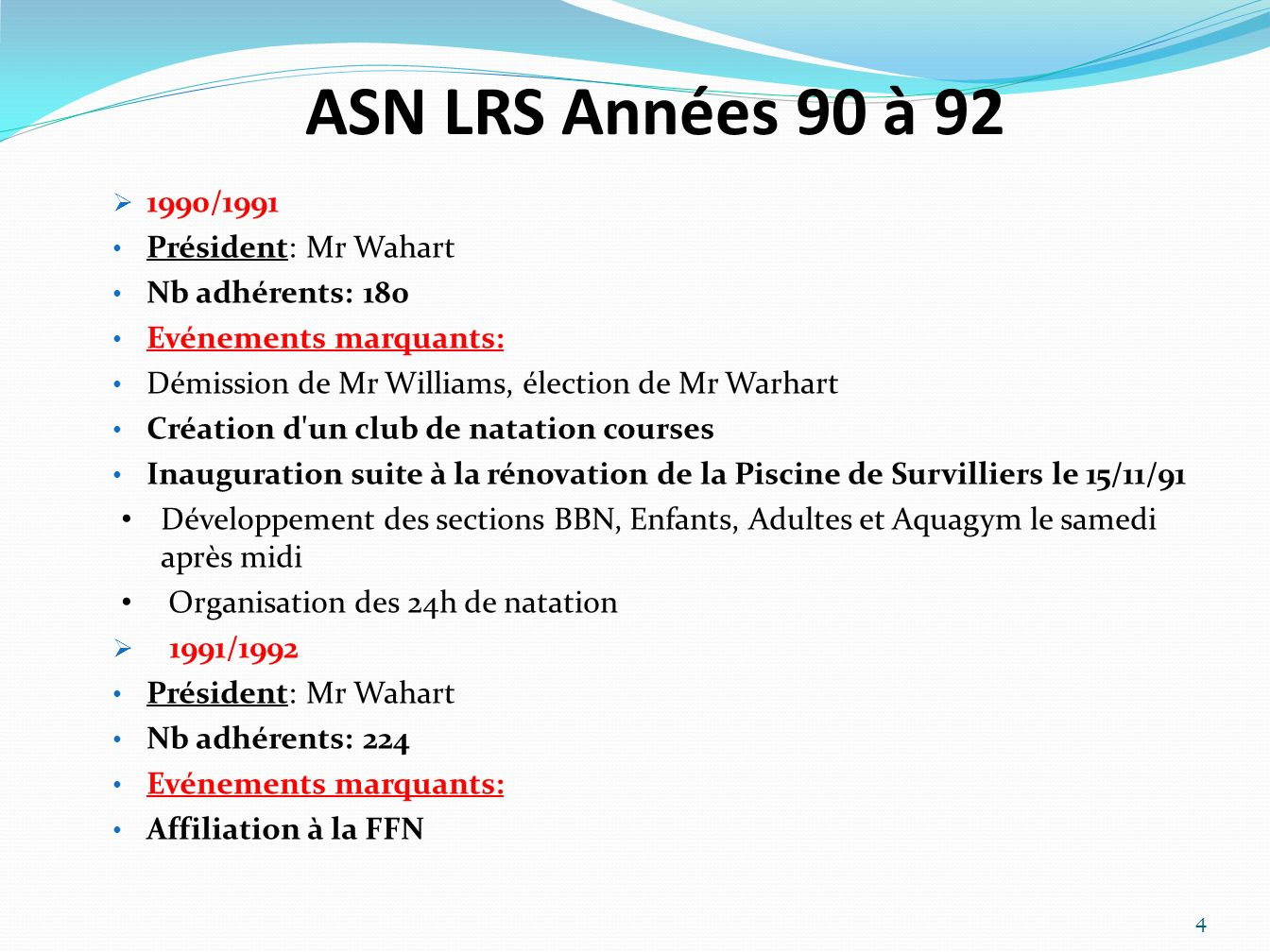 ASN LRS Années 90 à 92 1990/1991 Président: Mr Wahart