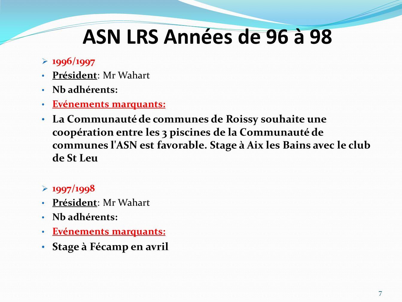 ASN LRS Années de 96 à 98 1996/1997. Président: Mr Wahart. Nb adhérents: Evénements marquants: