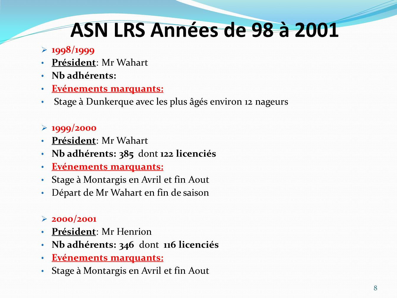 ASN LRS Années de 98 à 2001 1998/1999 Président: Mr Wahart