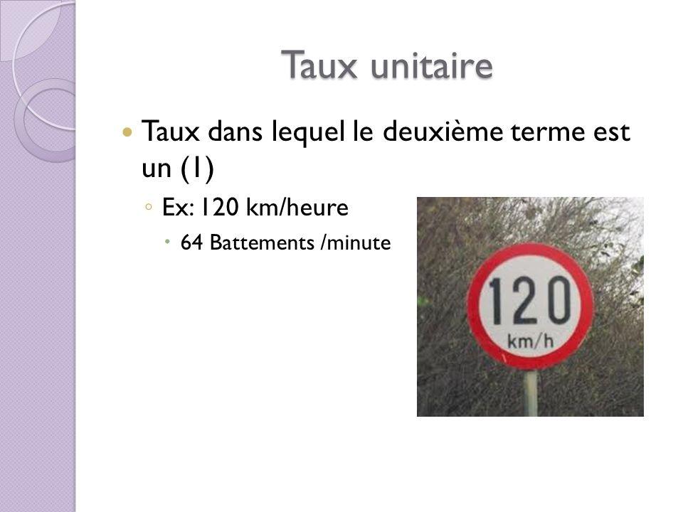 Taux unitaire Taux dans lequel le deuxième terme est un (1)