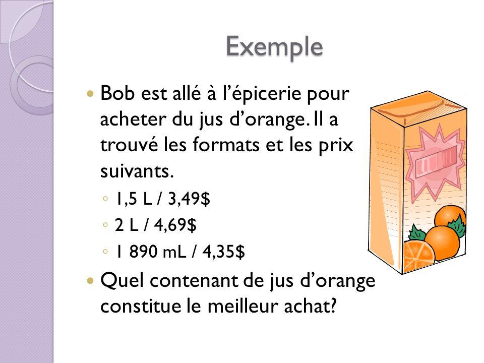 Exemple Bob est allé à l'épicerie pour acheter du jus d'orange. Il a trouvé les formats et les prix suivants.
