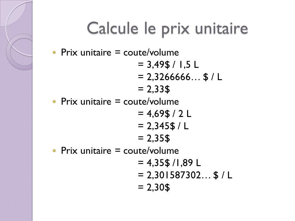 Calcule le prix unitaire