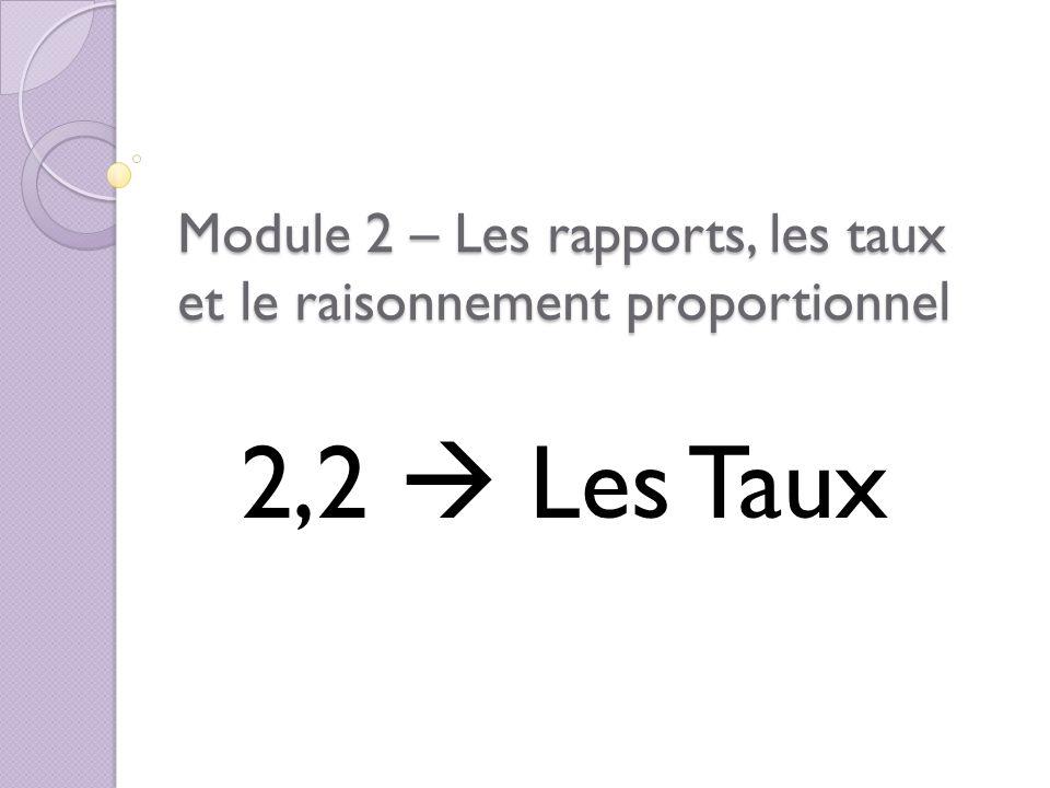 Module 2 – Les rapports, les taux et le raisonnement proportionnel