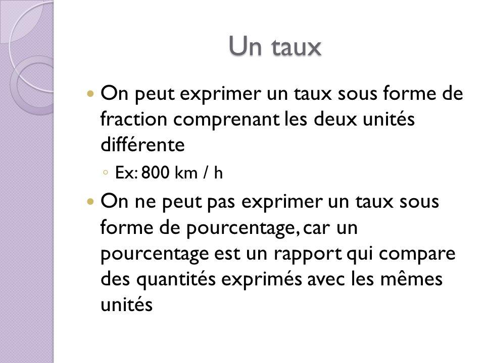 Un taux On peut exprimer un taux sous forme de fraction comprenant les deux unités différente. Ex: 800 km / h.