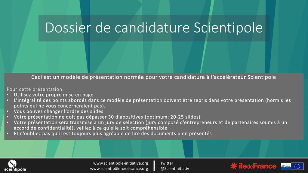 Dossier de candidature Scientipole