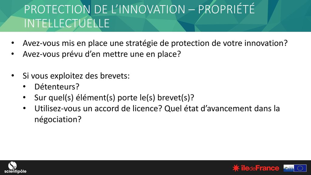 PROTECTION DE L'INNOVATION – PROPRIÉTÉ INTELLECTUELLE