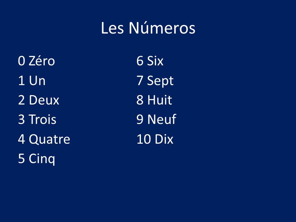 Les Números 0 Zéro 6 Six 1 Un 7 Sept 2 Deux 8 Huit 3 Trois 9 Neuf 4 Quatre 10 Dix 5 Cinq