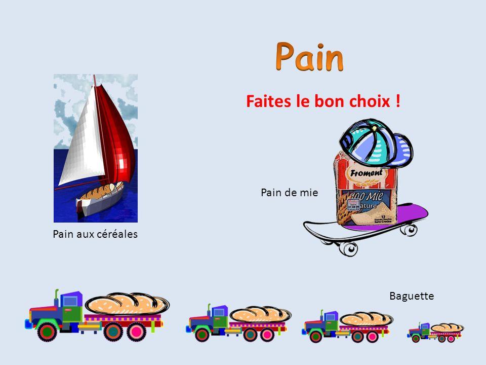 Pain Faites le bon choix ! Pain de mie Pain aux céréales Baguette