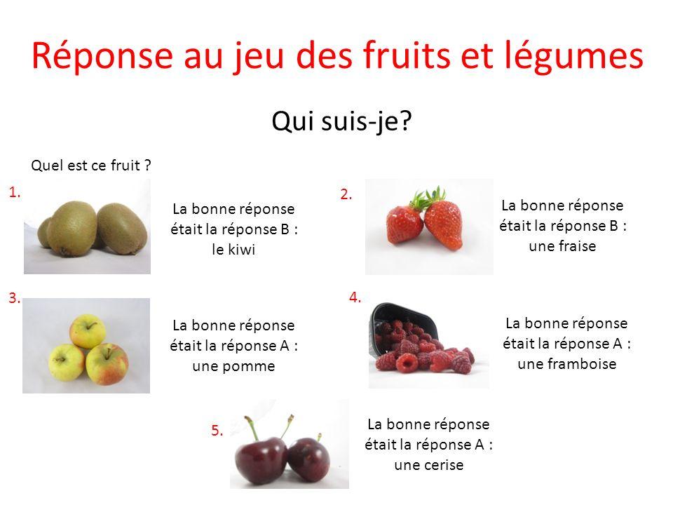 Réponse au jeu des fruits et légumes