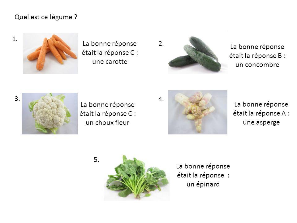 La bonne réponse était la réponse C : une carotte 2.