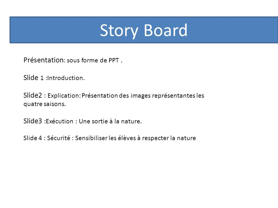 Story Board Présentation: sous forme de PPT . Slide 1 :Introduction.