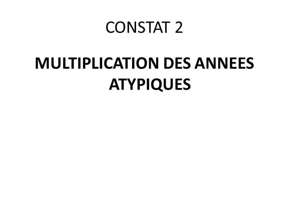 MULTIPLICATION DES ANNEES ATYPIQUES