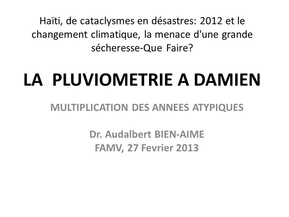 MULTIPLICATION DES ANNEES ATYPIQUES Dr. Audalbert BIEN-AIME