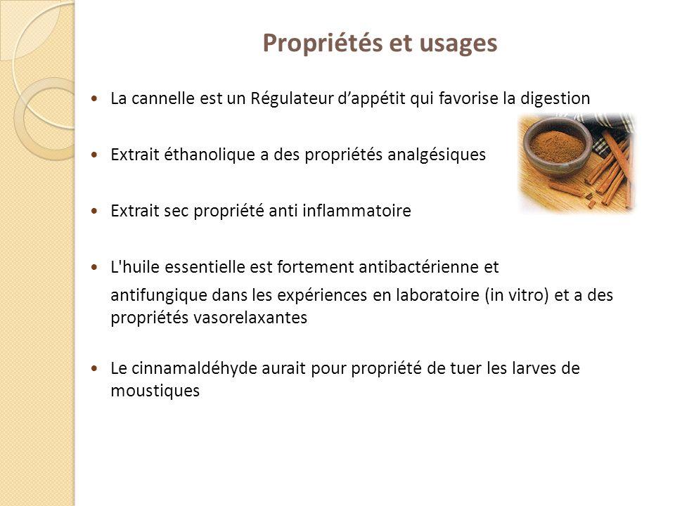 Propriétés et usages La cannelle est un Régulateur d'appétit qui favorise la digestion. Extrait éthanolique a des propriétés analgésiques.