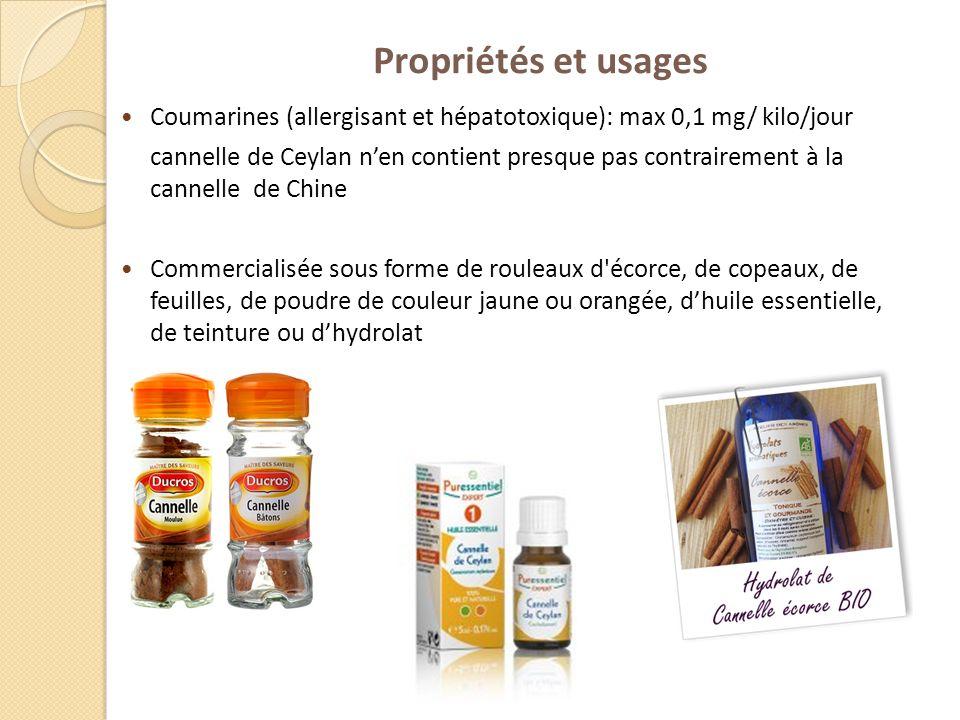 Propriétés et usages Coumarines (allergisant et hépatotoxique): max 0,1 mg/ kilo/jour.