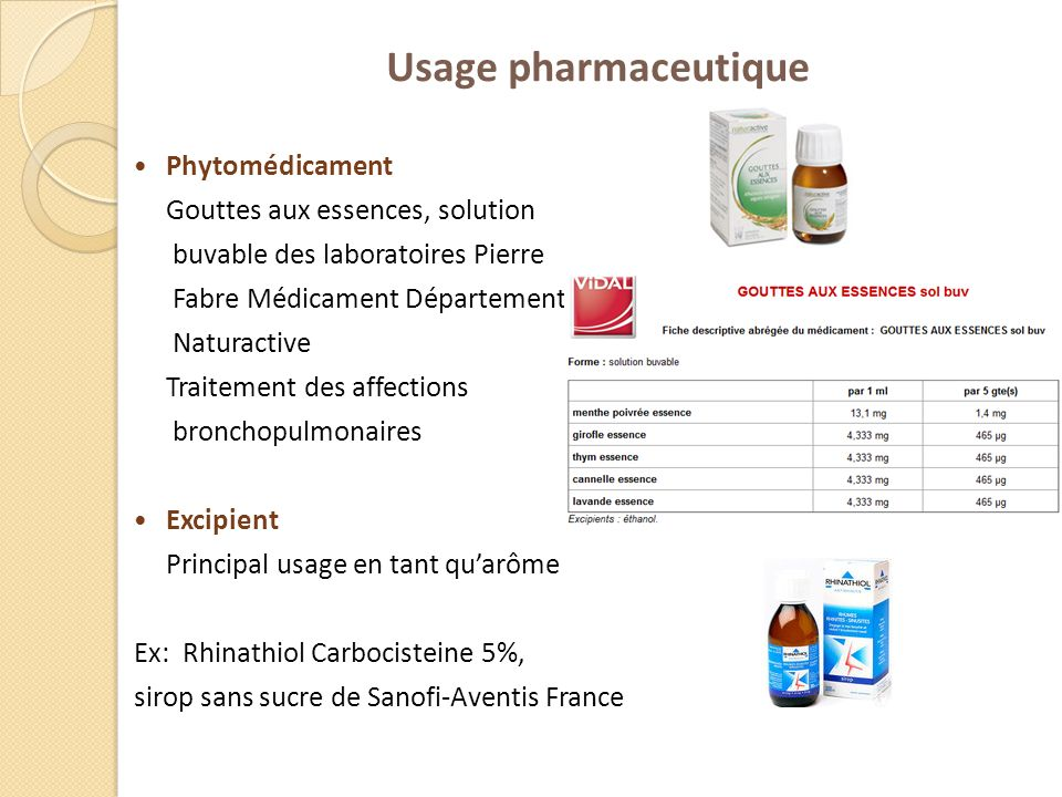 Usage pharmaceutique Phytomédicament Gouttes aux essences, solution