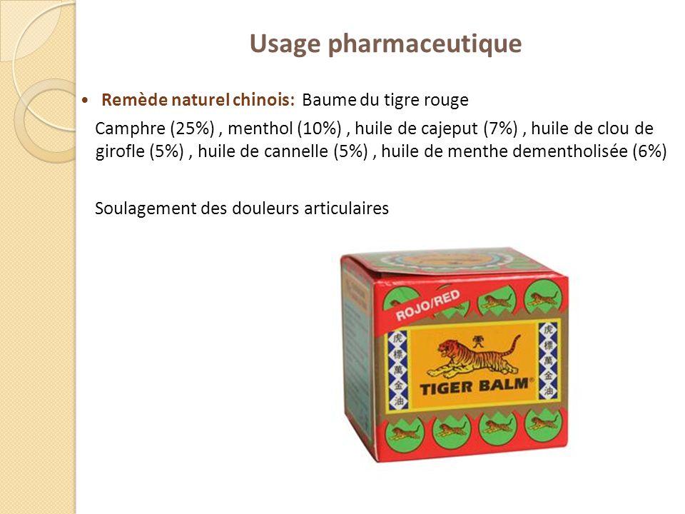 Usage pharmaceutique Remède naturel chinois: Baume du tigre rouge