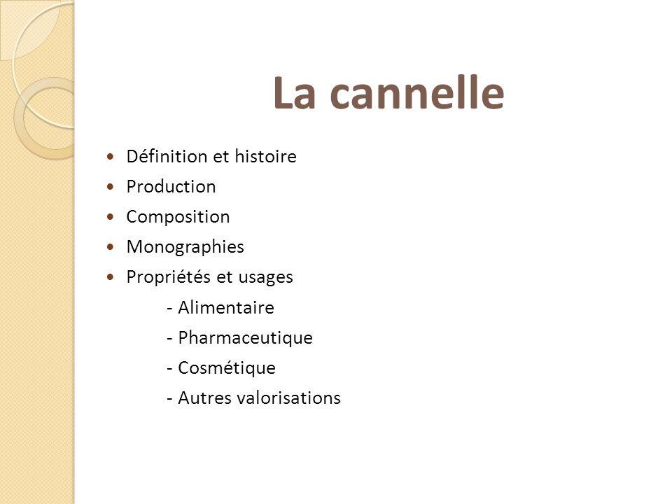 La cannelle Définition et histoire Production Composition Monographies