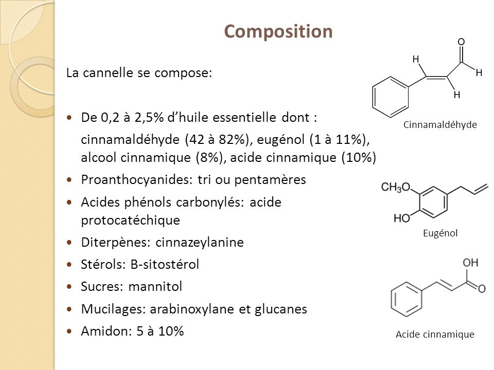 Composition La cannelle se compose: