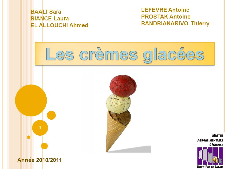Les crèmes glacées LEFEVRE Antoine BAALI Sara PROSTAK Antoine