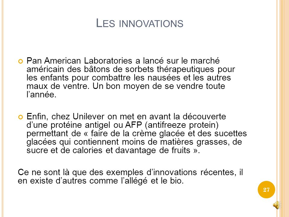 Les innovations