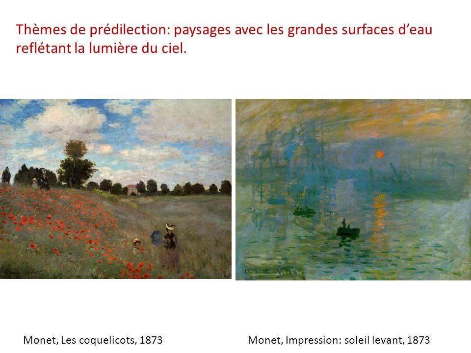 Thèmes de prédilection: paysages avec les grandes surfaces d'eau reflétant la lumière du ciel.