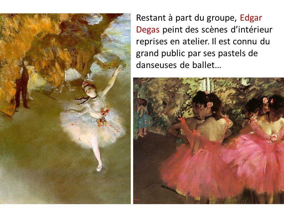 Restant à part du groupe, Edgar Degas peint des scènes d'intérieur reprises en atelier.