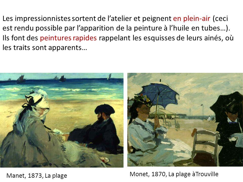 Les impressionnistes sortent de l'atelier et peignent en plein-air (ceci est rendu possible par l'apparition de la peinture à l'huile en tubes…). Ils font des peintures rapides rappelant les esquisses de leurs ainés, où les traits sont apparents…