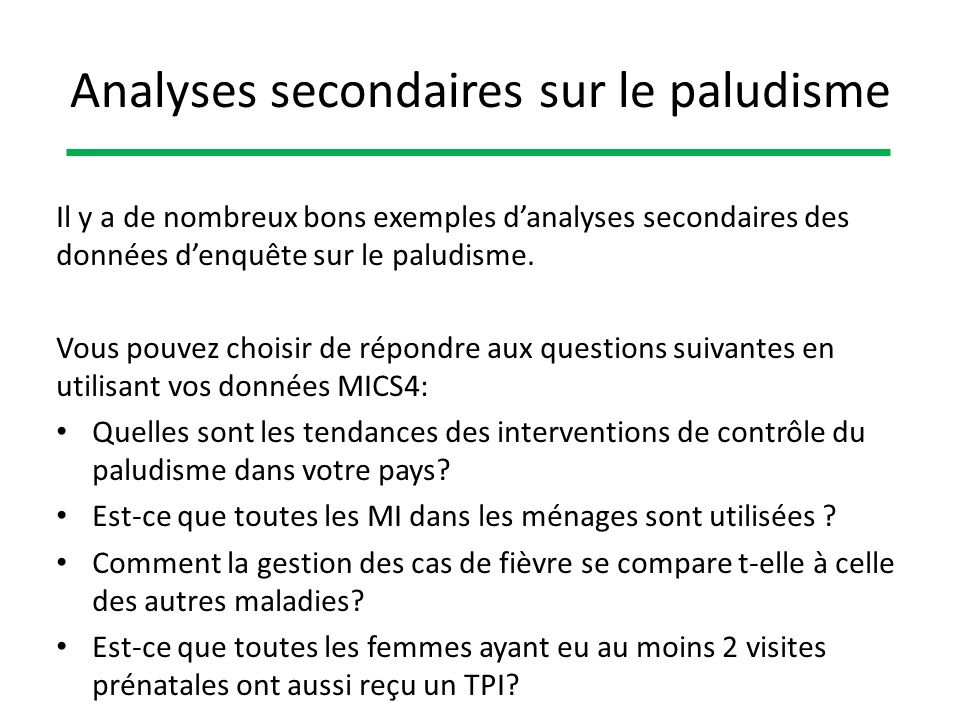 Analyses secondaires sur le paludisme
