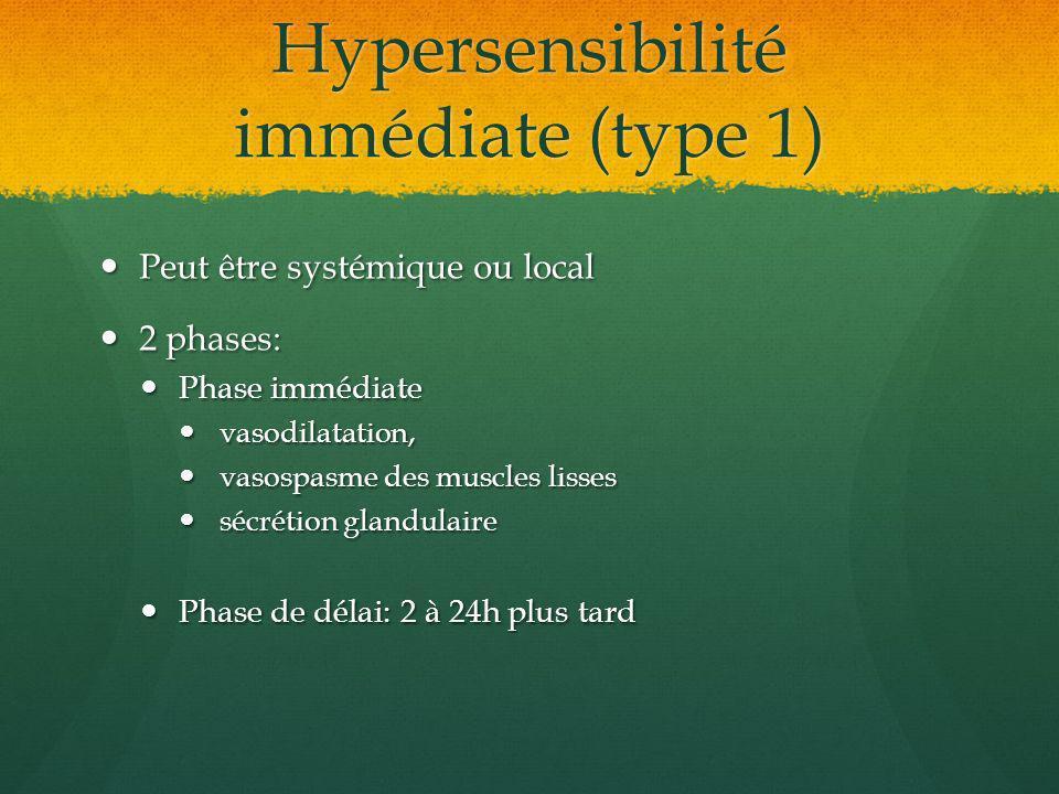 Hypersensibilité immédiate (type 1)
