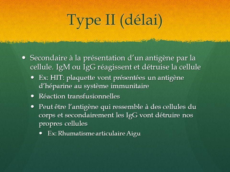 Type II (délai) Secondaire à la présentation d'un antigène par la cellule. IgM ou IgG réagissent et détruise la cellule.