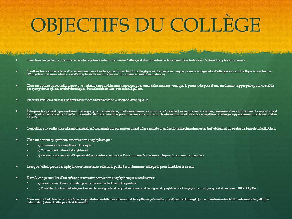 OBJECTIFS DU COLLÈGE