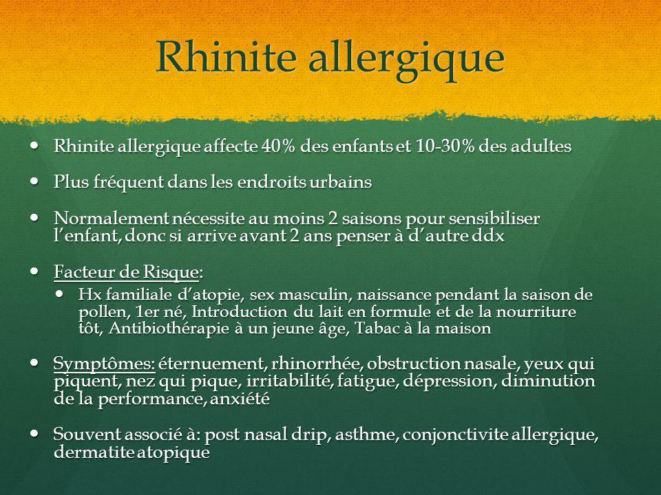 Rhinite allergique Rhinite allergique affecte 40% des enfants et 10-30% des adultes. Plus fréquent dans les endroits urbains.